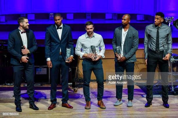 Jonathan Hoyaux Tyren Johnson Kyle McAlarney Marcellus Sommerville and Amin Stevens nominated for Pro B All Star Team awards during the Trophy Award...
