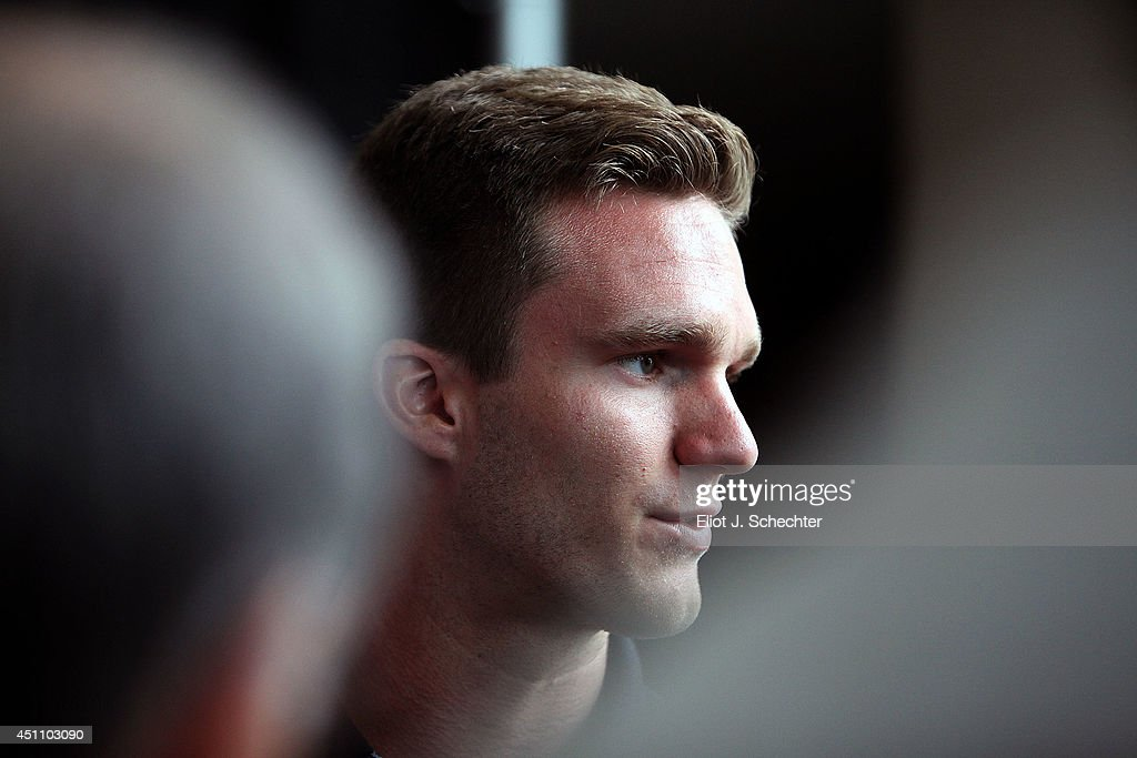Jonathan Huberdeau of Florida Panthers chats with the media after the announcement that Gerard Gallant as been named new Head Coach. Huberdeau spent 3 seasons playing for Gallant in the Quebec Major Junior League. The announcement was made at the BB&T Center on June 23, 2014 in Sunrise, Florida.