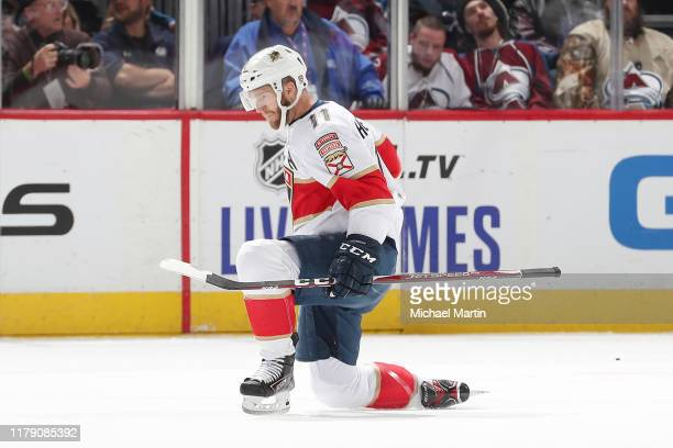 Jonathan Huberdeau of the Florida Panthers celebrates a goal against the Colorado Avalanche at the Pepsi Center on October 30 2019 in Denver Colorado...
