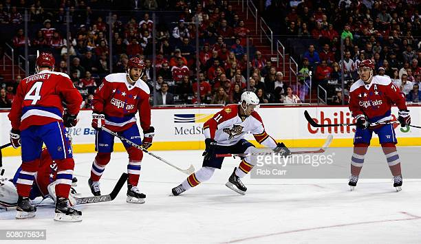 Jonathan Huberdeau of the Florida Panthers celebrates after scoring a first period goal against the Washington Capitals at Verizon Center on February...