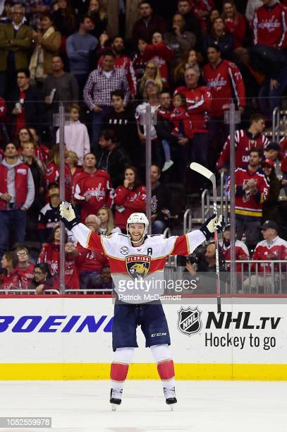 Jonathan Huberdeau of the Florida Panthers celebrates after scoring the game winning goal during a shootout against the Washington Capitals at...