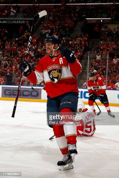Jonathan Huberdeau of the Florida Panthers celebrates his goal during the second period against the Detroit Red Wings at the BBT Center on November 2...