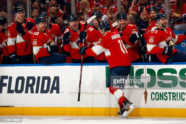Jonathan Huberdeau of the Florida Panthers celebrates his second goal of the game with teammates during the second period against the Montreal...