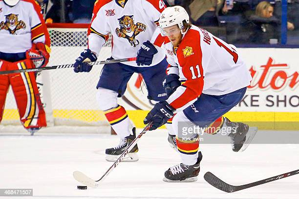 Jonathan Huberdeau of the Florida Panthers controls the puck during the game against the Columbus Blue Jackets on February 1 2014 at Nationwide Arena...