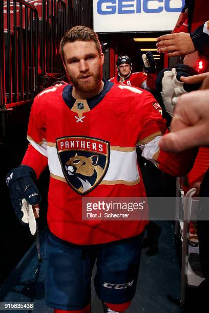 Jonathan Huberdeau of the Florida Panthers heads out to the ice for warm ups against the Vancouver Canucks at the BBT Center on February 6 2018 in...