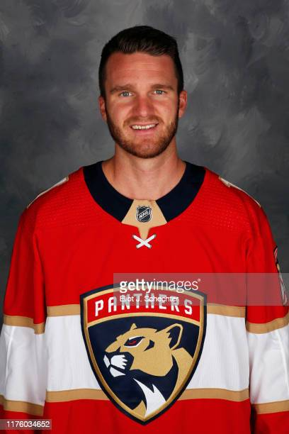 Jonathan Huberdeau of the Florida Panthers poses for his official headshot for the 20192020 NHL season on September 12 2019 at the BBT Center in...