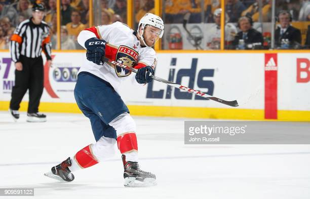 Jonathan Huberdeau of the Florida Panthers skates against the Nashville Predators during an NHL game at Bridgestone Arena on January 20 2018 in...