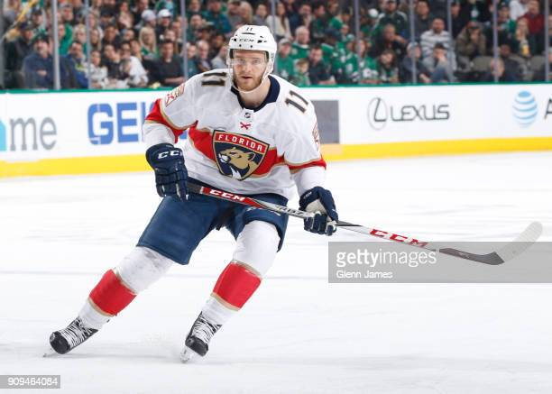 Jonathan Huberdeau of the Florida Panthers skates against the Dallas Stars at the American Airlines Center on January 23 2018 in Dallas Texas