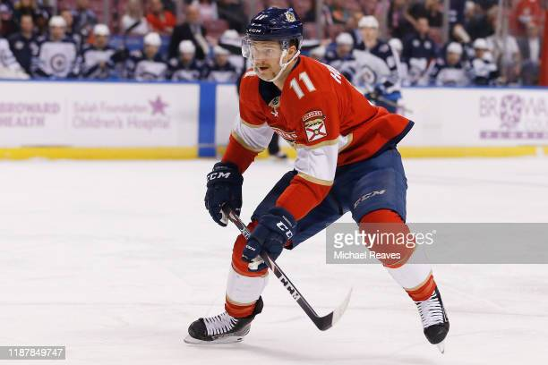 Jonathan Huberdeau of the Florida Panthers skates against the Winnipeg Jets during the first period at BBT Center on November 14 2019 in Sunrise...