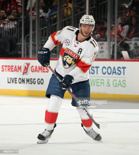 Jonathan Huberdeau of the Florida Panthers skates against the New Jersey Devils at the Prudential Center on October 27 2018 in Newark New Jersey The...