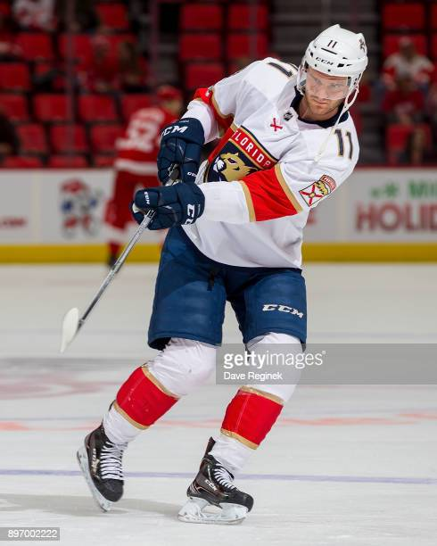 Jonathan Huberdeau of the Florida Panthers skates in warmups prior to an NHL game against the Detroit Red Wings at Little Caesars Arena on December...