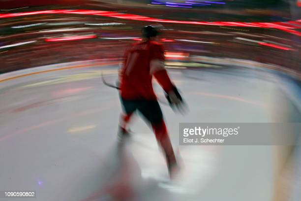 Jonathan Huberdeau of the Florida Panthers skates on the ice during introductions prior to the start of the game against the Columbus Blue Jackets at...