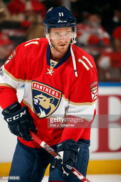 Jonathan Huberdeau of the Florida Panthers skates on the ice during warm ups prior to the start of the game against the Edmonton Oilers at the BBT...
