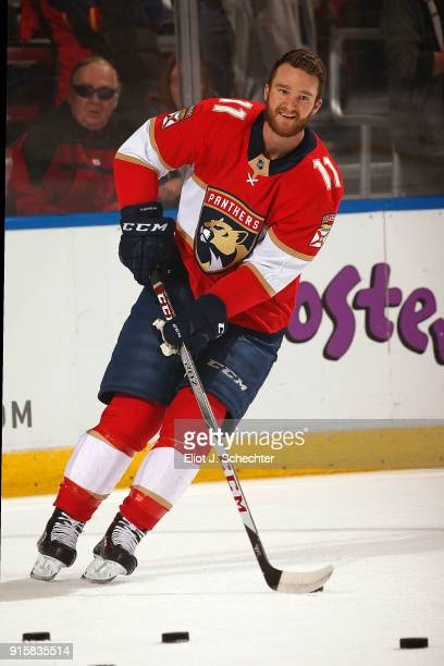 Jonathan Huberdeau of the Florida Panthers skates on the ice prior to the start of the game against the Vancouver Canucks at the BBT Center on...
