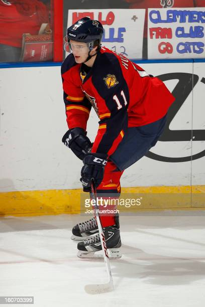 Jonathan Huberdeau of the Florida Panthers skates prior to the game against the Winnipeg Jets at the BBT Center on January 31 2013 in Sunrise Florida...