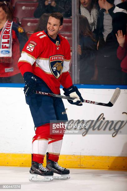 Jonathan Huberdeau of the Florida Panthers skates with a smile during warm ups against the Montreal Canadiens at the BBT Center on December 30 2017...