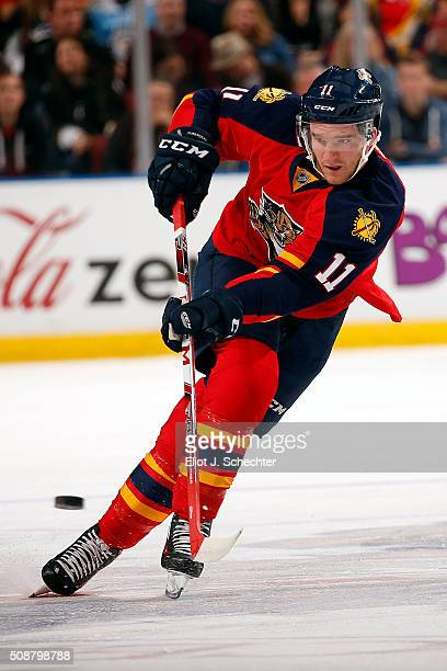 Jonathan Huberdeau of the Florida Panthers skates with the puck against during first period action against the Pittsburgh Penguins at the BBT Center...