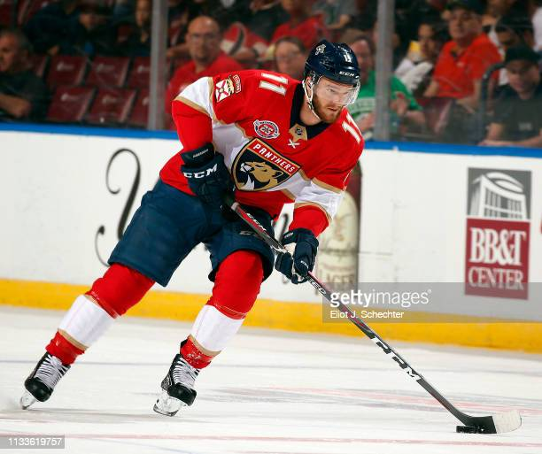 Jonathan Huberdeau of the Florida Panthers skates with the puck against the Ottawa Senators at the BBT Center on March 3 2019 in Sunrise Florida