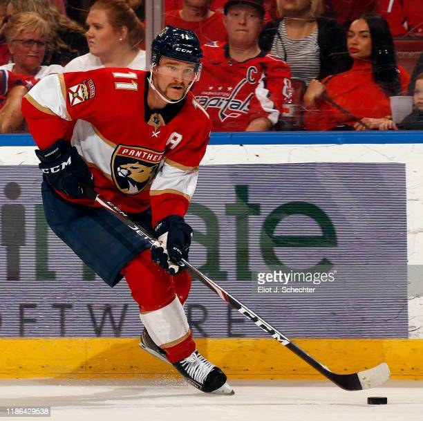 Jonathan Huberdeau of the Florida Panthers skates with the puck against the Washington Capitals at the BBT Center on November 7 2019 in Sunrise...