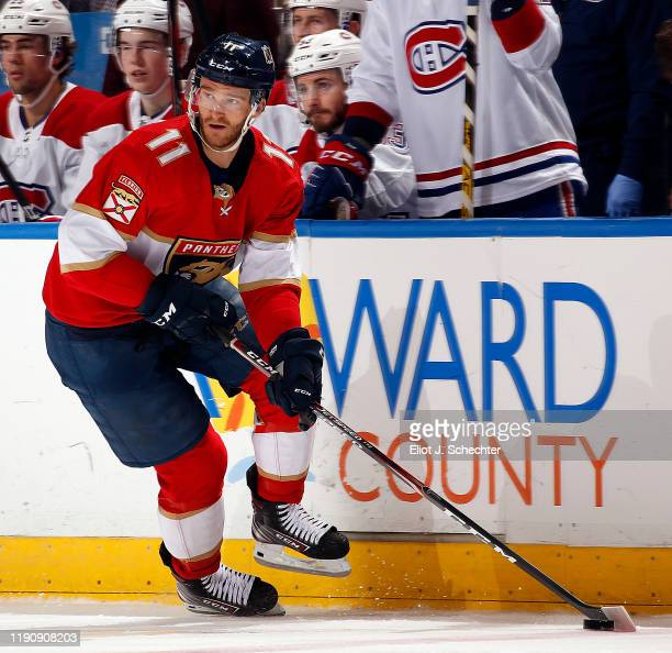 Jonathan Huberdeau of the Florida Panthers skates with the puck during the second period against the Montreal Canadiens at the BBT Center on December...