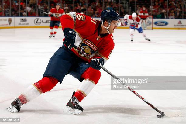 Jonathan Huberdeau of the Florida Panthers skates with the puck against the Montreal Canadiens at the BBT Center on April 3 2017 in Sunrise Florida