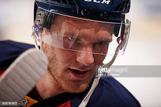 Jonathan Huberdeau of the Florida Panthers warms up on the ice prior to the start of the game against the Minnesota Wild at the BBT Center on January...