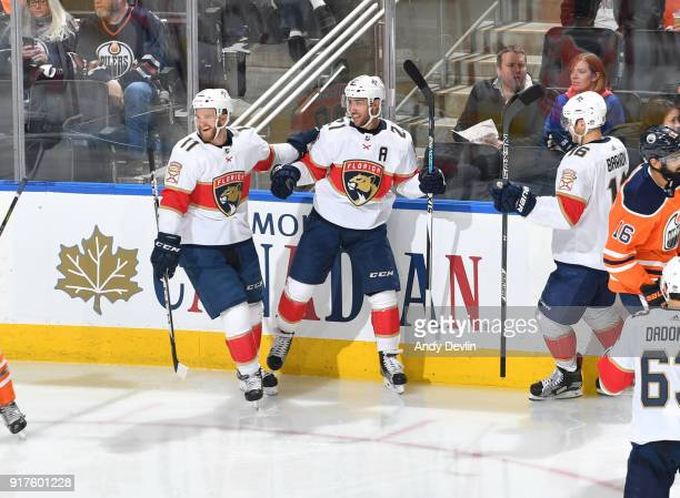 Jonathan Huberdeau Vincent Trocheck and Aleksander Barkov of the Florida Panthers celebrate after a goal during the game against the Edmonton Oilers...
