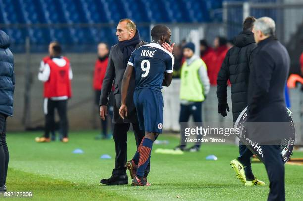 Jonathan Ikone and Michel Der Zakarian Coach of Montpellier during the french League Cup match Round of 16 between Montpellier and Lyon on December...
