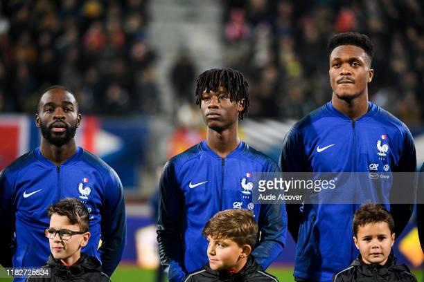 Jonathan IKONE Eduardo CAMAVINGA and DanAxel ZAGADOU of France during the UEFA European Championship Group B match between France U21 and Georgia U21...
