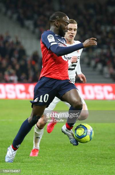 Jonathan Ikone of Lille, Benjamin Bourigeaud of Stade Rennais during the Ligue 1 match between Lille OSC and Stade Rennais at Stade Pierre Mauroy on...