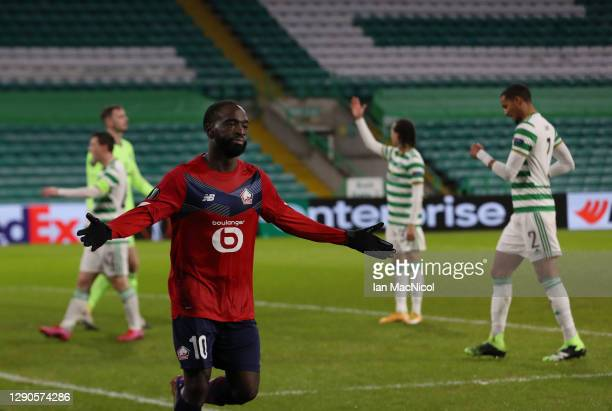 Jonathan Ikone of Lille celebrates after he scores their team's first goal during the UEFA Europa League Group H stage match between Celtic and LOSC...