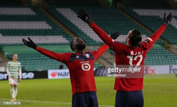 Jonathan Ikone of Lille celebrates after scoring their team's first goal Yusuf Yazici of Lille during the UEFA Europa League Group H stage match...