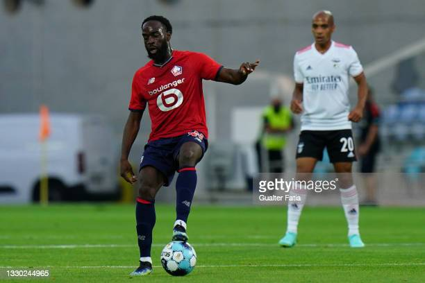 Jonathan Ikone of LOSC Lille controls the ball during the Pre-Season Friendly match between SL Benfica and Lille at Estadio Algarve on July 22, 2021...