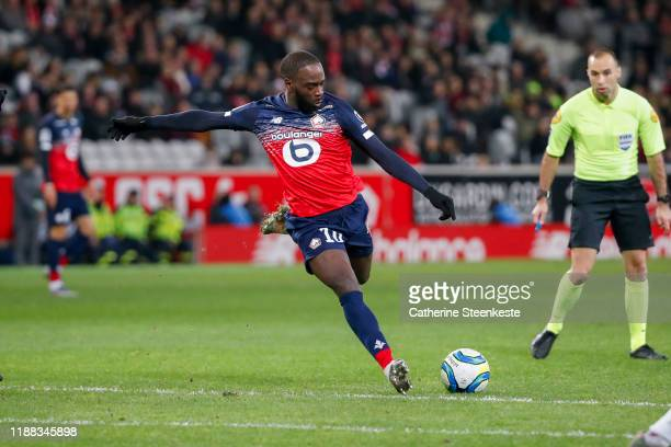 Jonathan Ikone of Losc shoots the ball during the Ligue 1 match between Lille OSC and Montpellier HSC at Stade Pierre Mauroy on December 13, 2019 in...