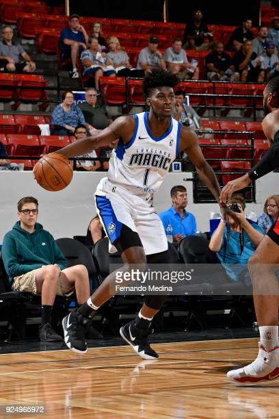 Jonathan Isaac of the Lakeland Magic dribbles the ball against the Grand Rapids Drive during the game on February 24 2018 at RP Funding Center in...