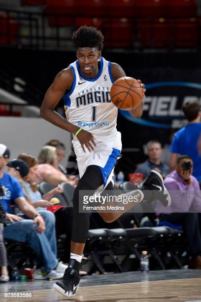 Jonathan Isaac of the Lakeland Magic handles the ball against the Maine Red Claws during the NBA GLeague on February 23 2018 at RP Funding Center in...