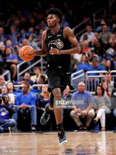 Jonathan Isaac of the Orlando Magic bring the ball up court during the game against the New Orlean Pelicans at the Amway Center on March 20 2019 in...