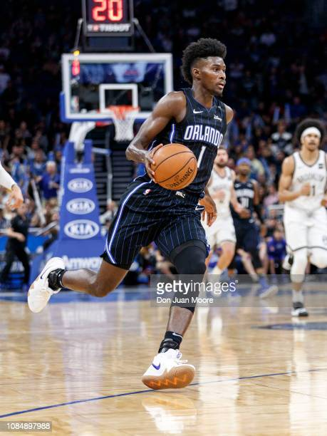 Jonathan Isaac of the Orlando Magic bring the ball up court on a fast break during the game against the Brooklyn Nets at the Amway Center on January...