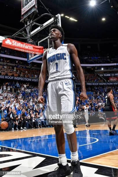 Jonathan Isaac of the Orlando Magic celebrates during the game against the Toronto Raptors during Game Three of Round One of the 2019 NBA Playoffs on...