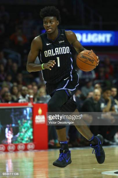 Jonathan Isaac of the Orlando Magic dribbles the ball during the NBA game between the Orlando Magic and the Los Angeles Clippers at Staples Center on...