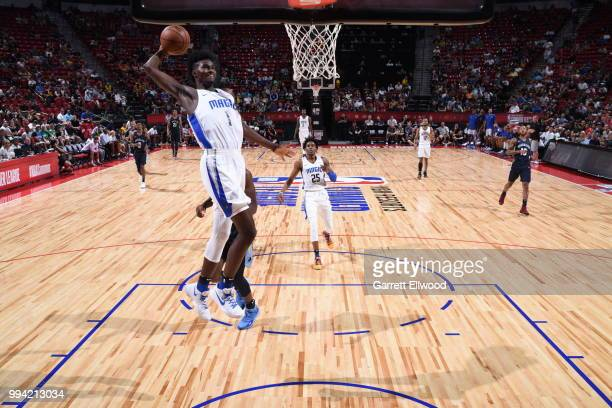 Jonathan Isaac of the Orlando Magic drives to the basket against the Memphis Grizzlies during the 2018 Las Vegas Summer League on July 8 2018 at the...