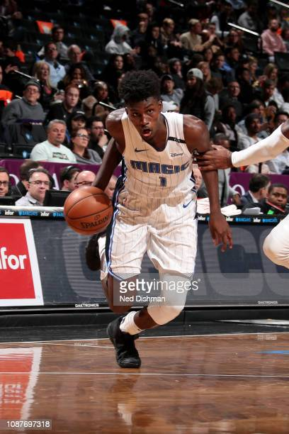 Jonathan Isaac of the Orlando Magic drives to the basket during the game against the Brooklyn Nets on January 23 2019 at Barclays Center in Brooklyn...