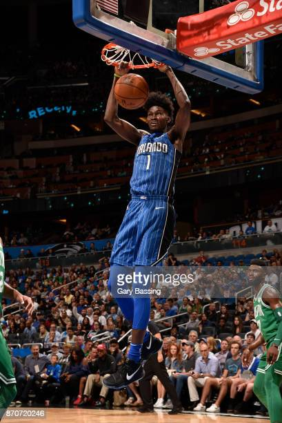 Jonathan Isaac of the Orlando Magic dunks the ball against the Boston Celtics on November 5 2017 at Amway Center in Orlando Florida NOTE TO USER User...