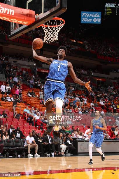 Jonathan Isaac of the Orlando Magic dunks the ball against the Miami Heat on March 26 2019 at American Airlines Arena in Miami Florida NOTE TO USER...