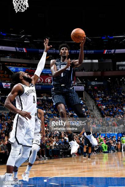 Jonathan Isaac of the Orlando Magic goes to the basket against the Brooklyn Nets on January 18 2019 at Amway Center in Orlando Florida NOTE TO USER...