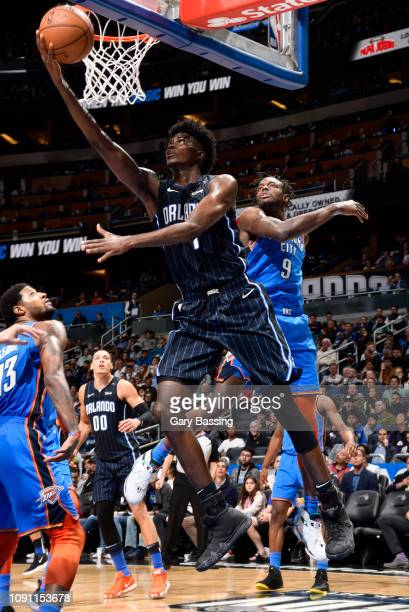 Jonathan Isaac of the Orlando Magic goes to the basket against the Oklahoma City Thunder on January 29 2019 at Amway Center in Orlando Florida NOTE...