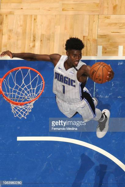 Jonathan Isaac of the Orlando Magic grabs the rebound against the Portland Trail Blazers on October 25 2018 at Amway Center in Orlando Florida NOTE...