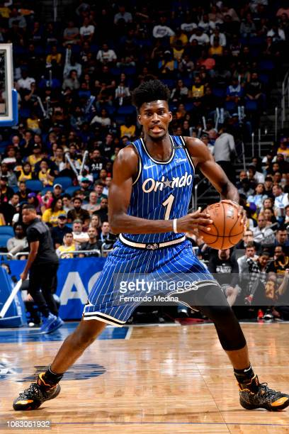 Jonathan Isaac of the Orlando Magic handles the ball against the Los Angeles Lakers on November 17 2018 at Amway Center in Orlando Florida NOTE TO...
