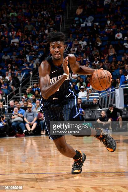 Jonathan Isaac of the Orlando Magic handles the ball against the New York Knicks on November 18 2018 at Amway Center in Orlando Florida NOTE TO USER...