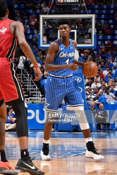 Jonathan Isaac of the Orlando Magic handles the ball against the Miami Heat on October 17 2018 at Amway Center in Orlando Florida NOTE TO USER User...